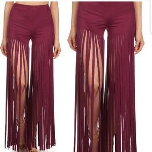 Pants - 2 for $25 Sale - NWT wine colored fringe shorts